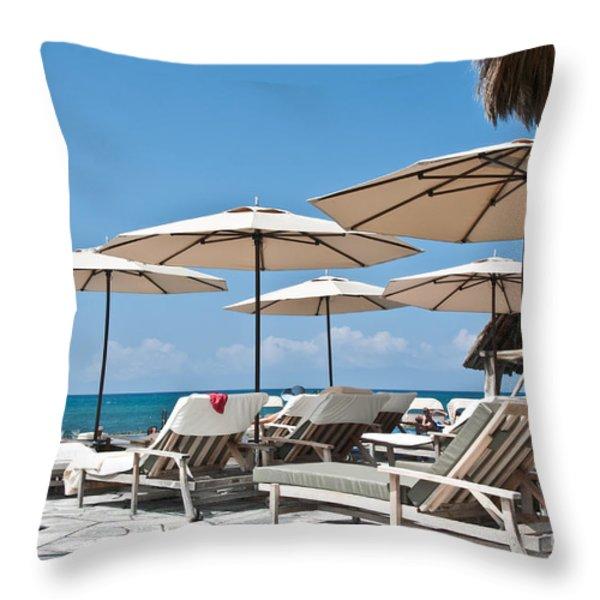 Tropical Beach Luxury Paradise Throw Pillow by Valerie Garner