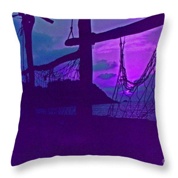 Tropical Dusk Throw Pillow by First Star Art