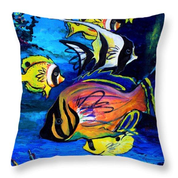 Tropical Fish Throw Pillow by Karon Melillo DeVega
