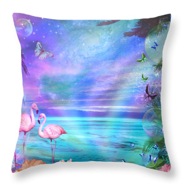 Tropical Moonlight Flamingos Throw Pillow by Alixandra Mullins