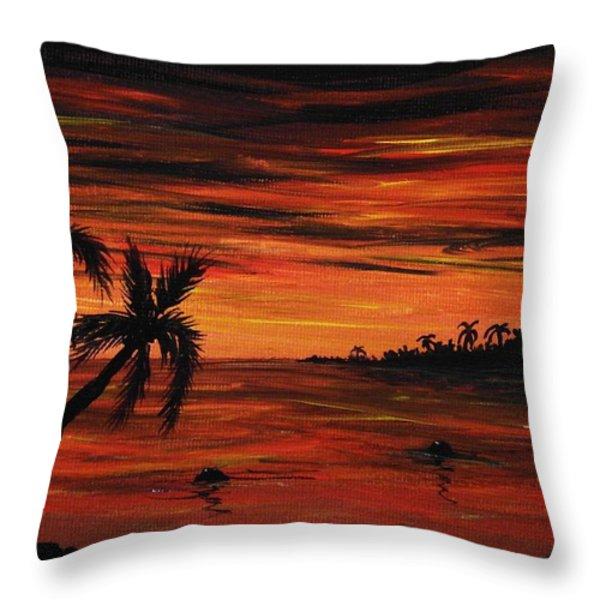 Tropical Night Throw Pillow by Anastasiya Malakhova