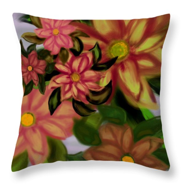 Tropical Plaid Throw Pillow by Christine Fournier