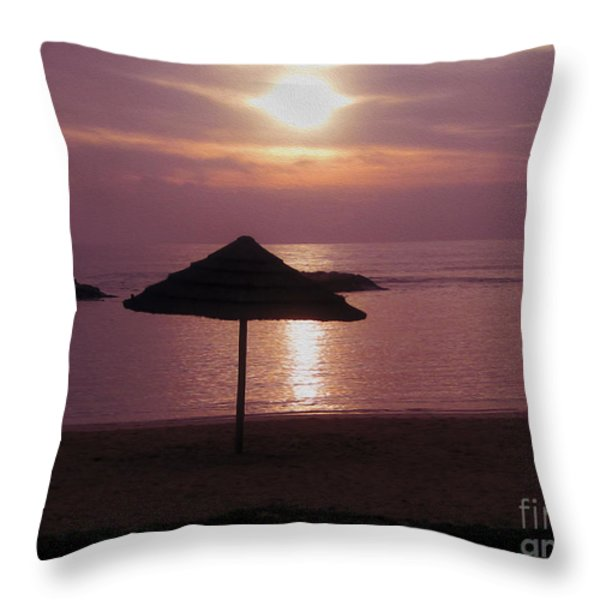 Tropical Sunset Throw Pillow by Cheryl Young