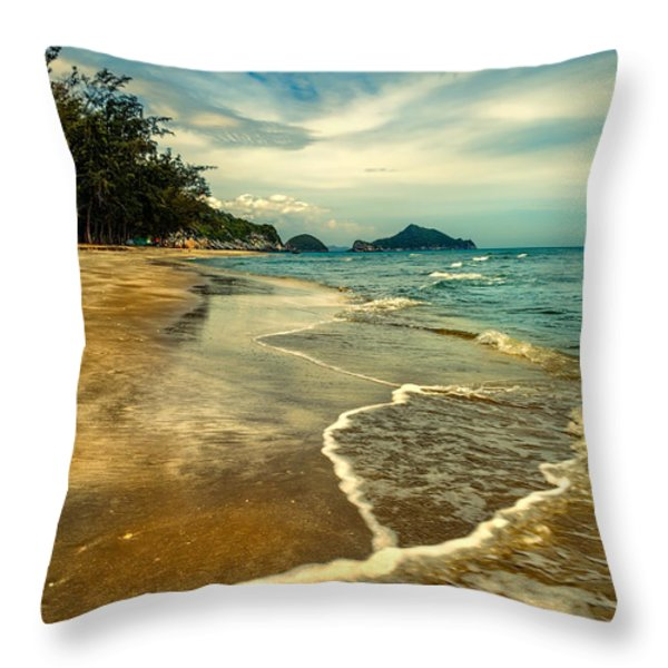 Tropical Waves Throw Pillow by Adrian Evans