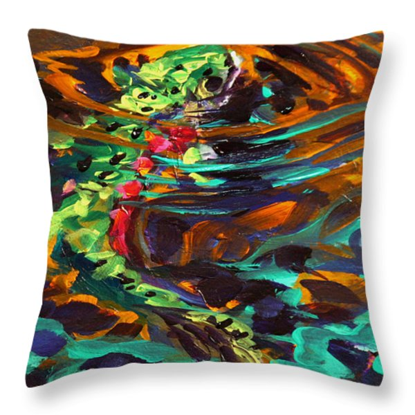 Trout and Fly II Throw Pillow by Savlen Art