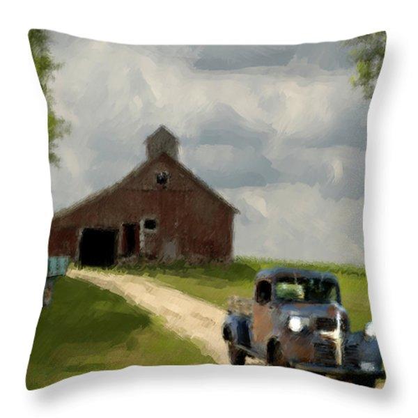 Trucks And Barn Throw Pillow by Jack Zulli