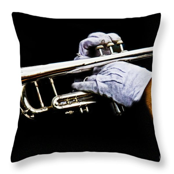 Trumpet Throw Pillow by Tom Gari Gallery-Three-Photography