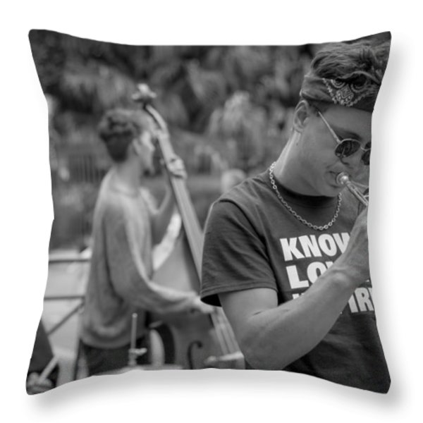 Trumpet in the Big Easy Throw Pillow by David Morefield