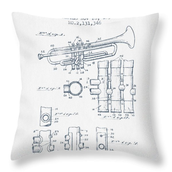 Trumpet Patent From 1939 - Blue Ink Throw Pillow by Aged Pixel