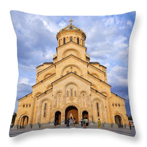 Tsminda Sameba Cathedral Tbilisi Throw Pillow by Robert Preston