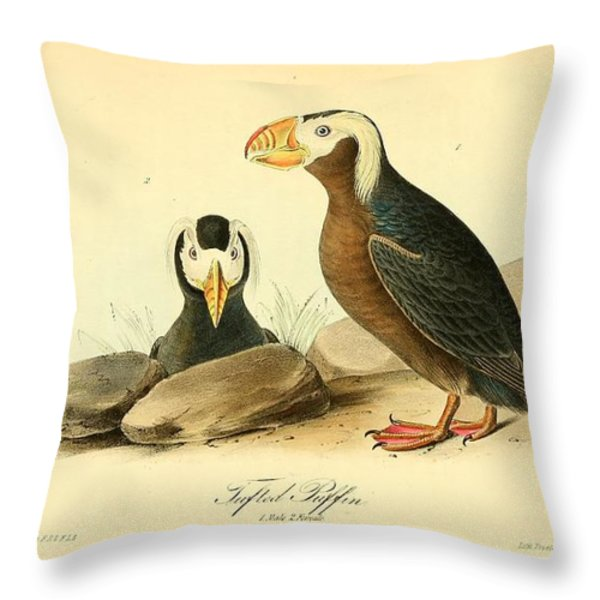 Tufted Puffins Throw Pillow by John James Audubon