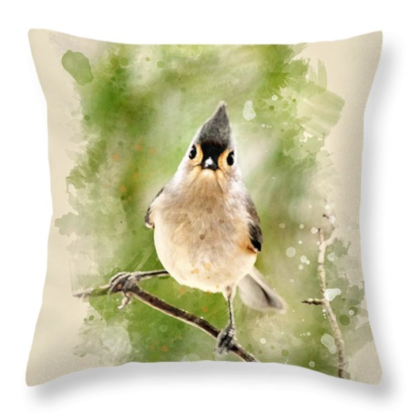 Tufted Titmouse - Watercolor Art Throw Pillow by Christina Rollo