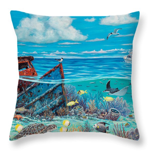 Tug Boat Reef Throw Pillow by Danielle  Perry