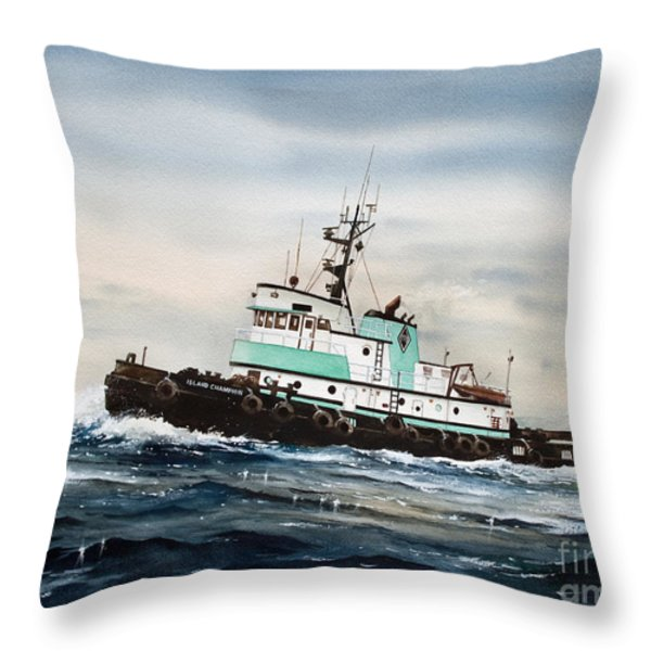 Tugboat Island Champion Throw Pillow by James Williamson