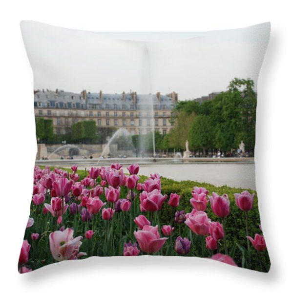 Tuileries Garden in Bloom Throw Pillow by Jennifer Lyon