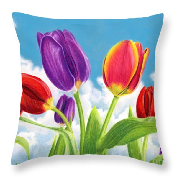 Tulip Garden Throw Pillow by Sarah Batalka