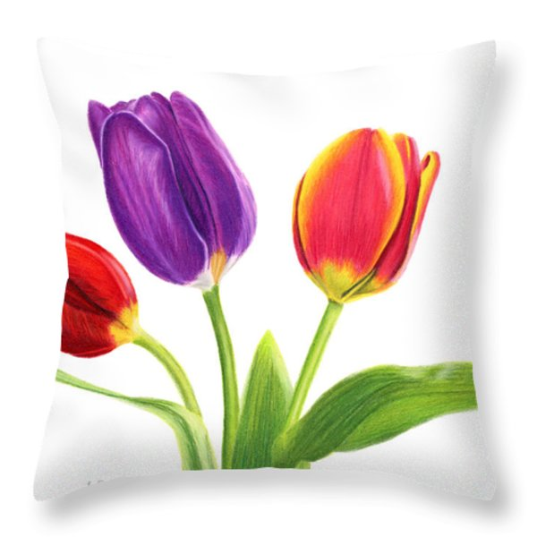 Tulip Trio Throw Pillow by Sarah Batalka