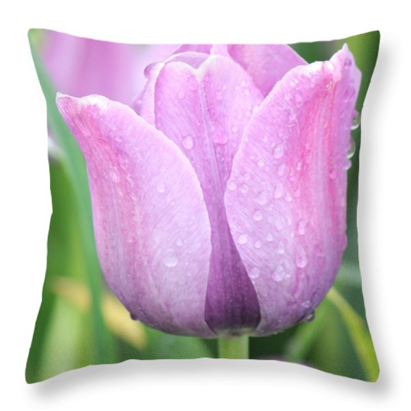 Tulip Weeps Throw Pillow by Bill Woodstock