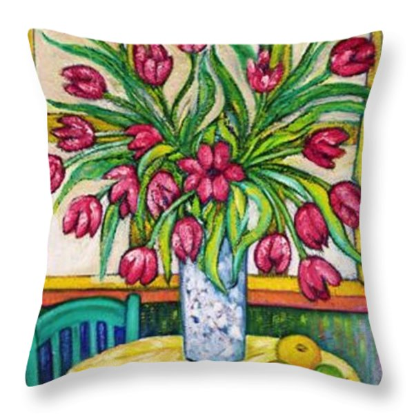 TULIPS   2 Throw Pillow by Gunter  Hortz