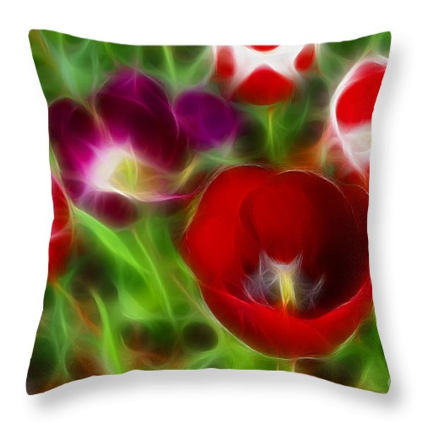 Tulips-6967-fractal Throw Pillow by Gary Gingrich Galleries