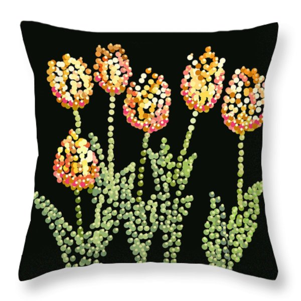 Tulips Bedazzled Throw Pillow by R  Allen Swezey