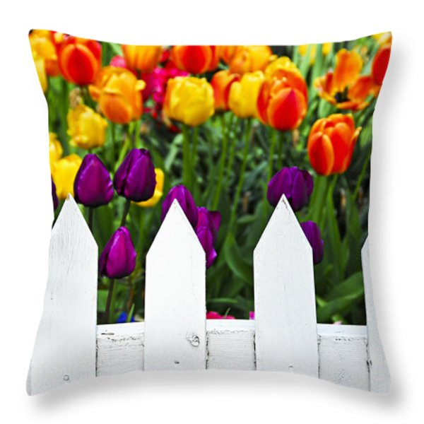 Tulips behind white fence Throw Pillow by Elena Elisseeva
