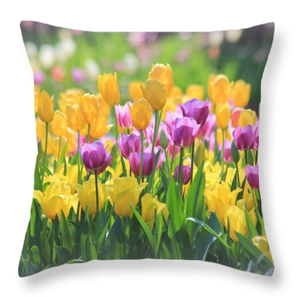 Tulips Throw Pillow by Elizabeth Budd