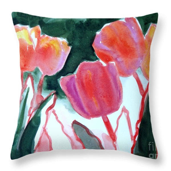 Tulips For the Love of Patches Throw Pillow by Kathy Braud