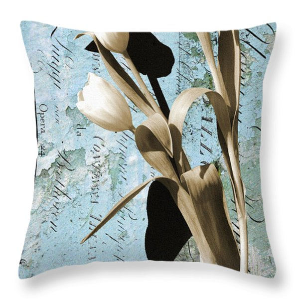 Tulips On Rustic Blue Script Wall Throw Pillow by Anahi DeCanio