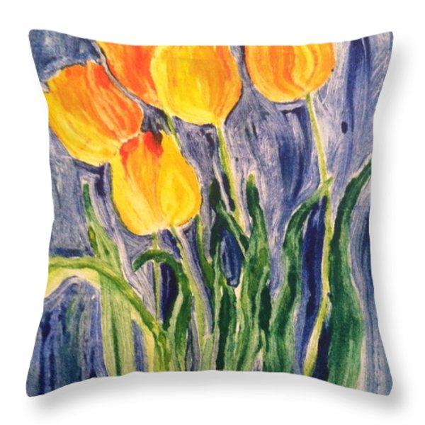 Tulips Throw Pillow by Sherry Harradence