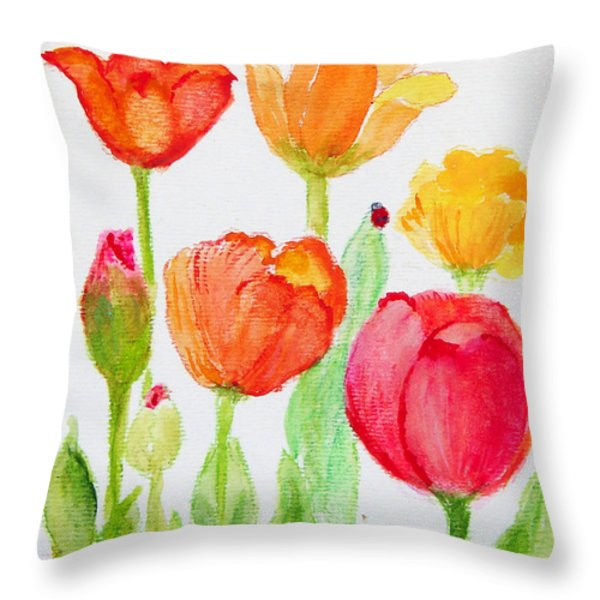 Tulips With Lady Bug Throw Pillow by Ashleigh Dyan Bayer