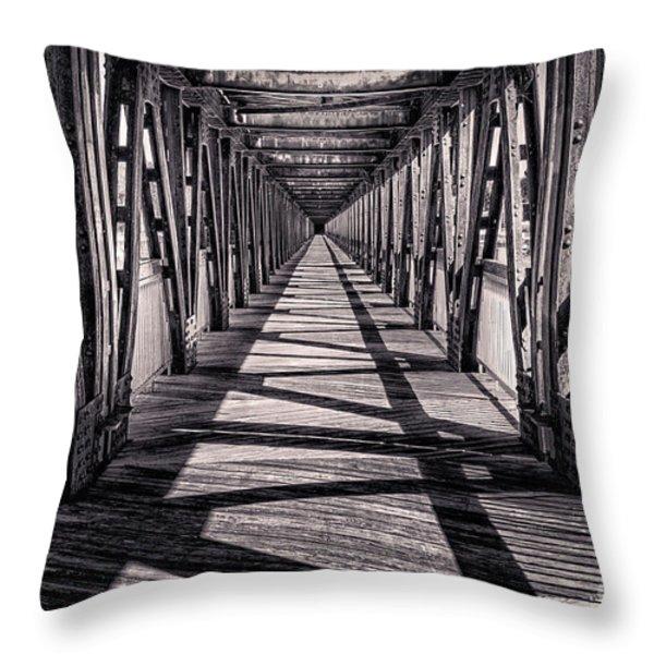 Tulsa Pedestrian Bridge In Black And White Throw Pillow by Tamyra Ayles