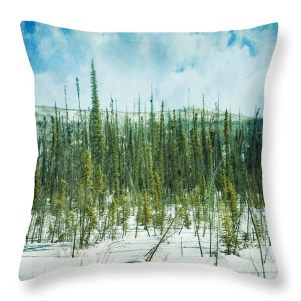 tundra forest Throw Pillow by Priska Wettstein