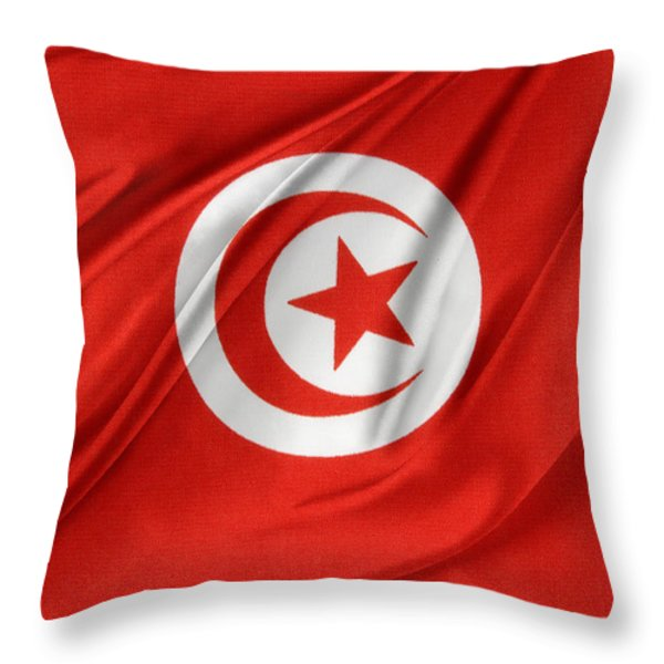 Tunisia flag Throw Pillow by Les Cunliffe