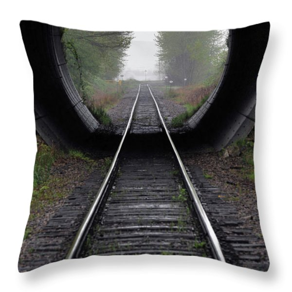 Tunnel Into The Mist Throw Pillow by Rod Wiens