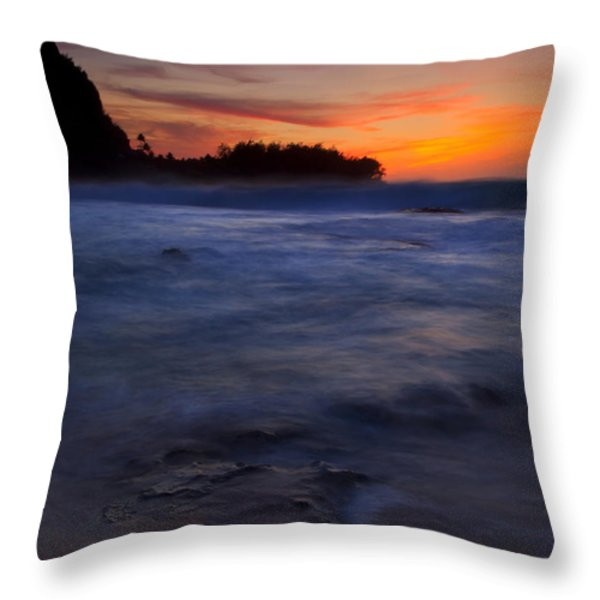 Tunnels Beach Dusk Throw Pillow by Mike  Dawson