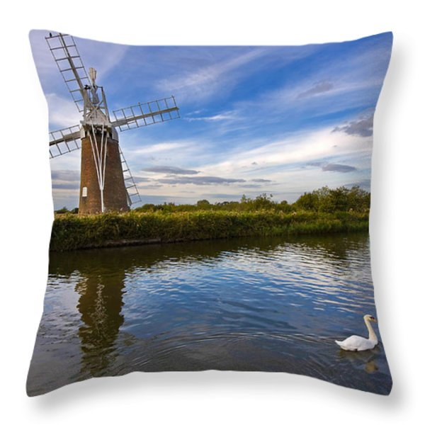 Turf Fen Drainage Mill Throw Pillow by Louise Heusinkveld