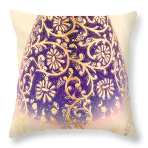 Turkish Vase 1 Crayon Throw Pillow by MotionAge Designs