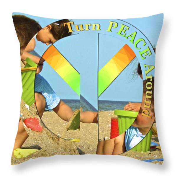 Turn PEACE Around 2 Throw Pillow by Charlie and Norma Brock