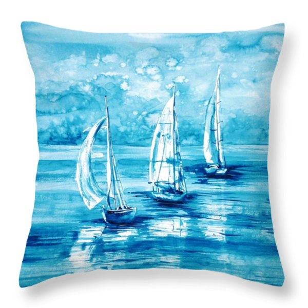 Turquoise Morning Throw Pillow by Zaira Dzhaubaeva