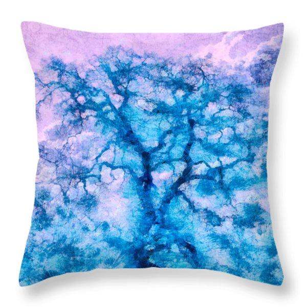 Turquoise Oak Tree Throw Pillow by Priya Ghose