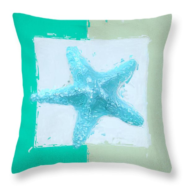 Turquoise Seashells XIII Throw Pillow by Lourry Legarde