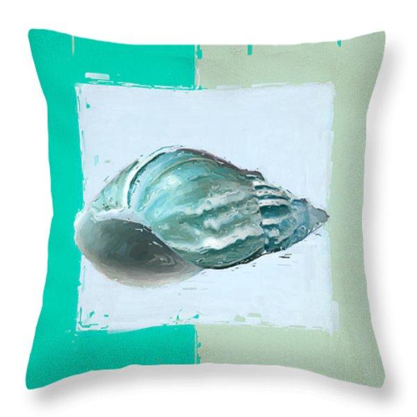 Turquoise Seashells XIV Throw Pillow by Lourry Legarde