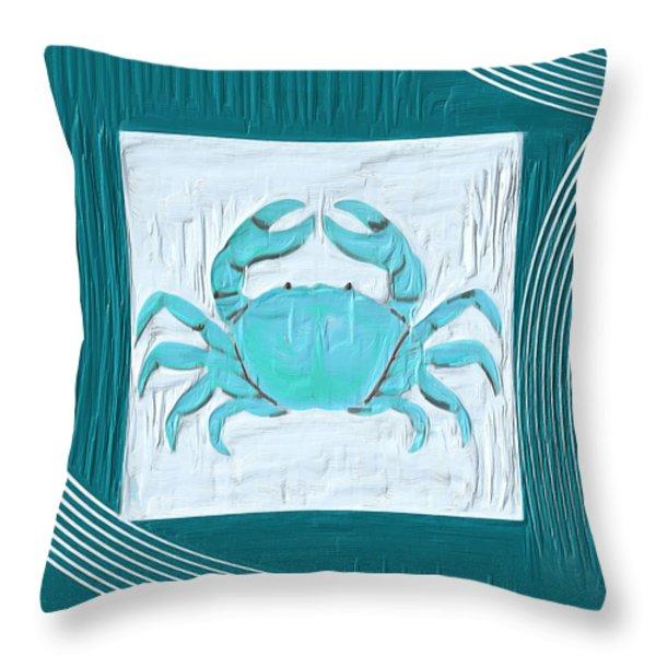 Turquoise Seashells XIX Throw Pillow by Lourry Legarde