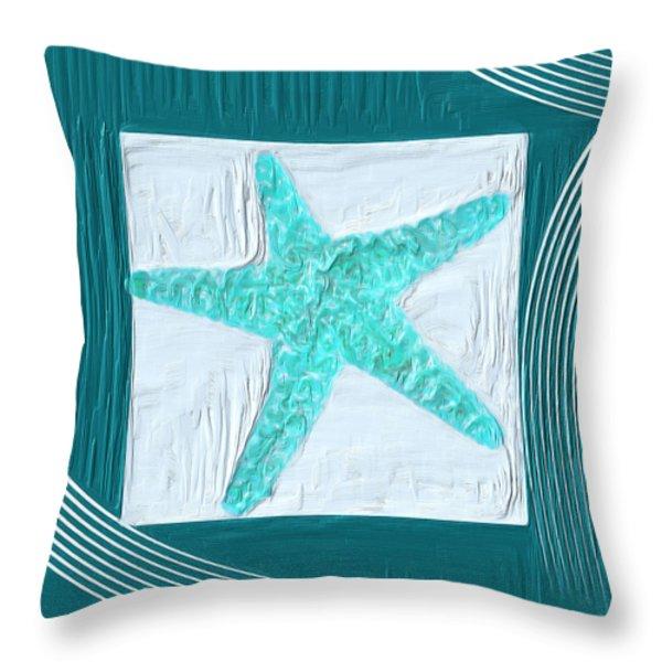 Turquoise Seashells XVI Throw Pillow by Lourry Legarde