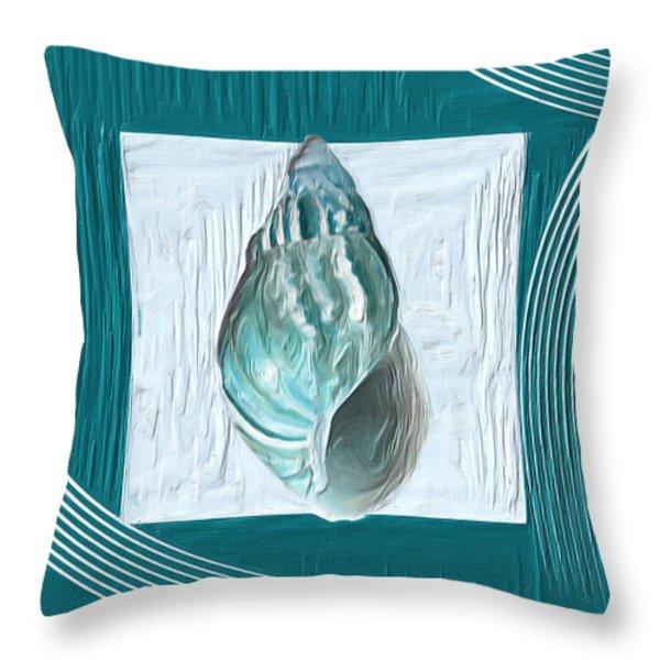 Turquoise Seashells XX Throw Pillow by Lourry Legarde