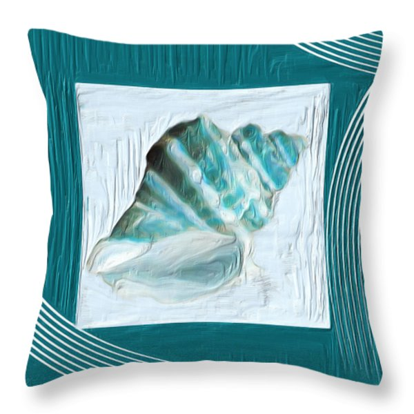 Turquoise Seashells Xxii Throw Pillow by Lourry Legarde