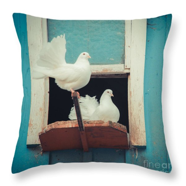 Turtle Doves 1x1 Throw Pillow by Hannes Cmarits