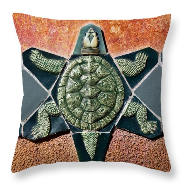 Turtle Mosaic Throw Pillow by Carol Leigh