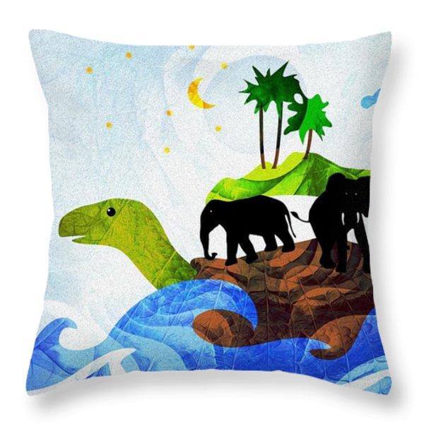 Turtles All The Way Down Throw Pillow by Anastasiya Malakhova